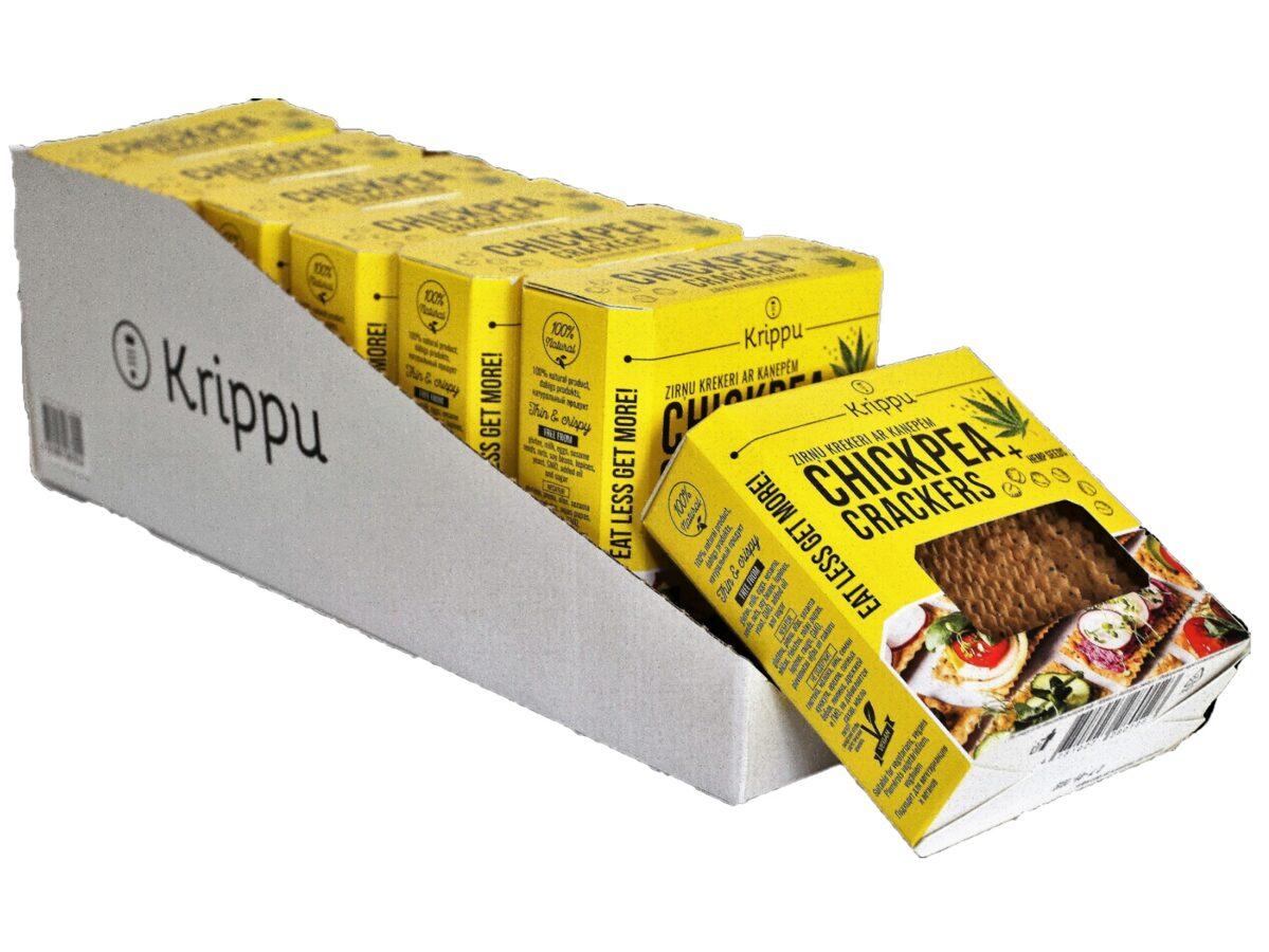 Zirņu krekeri ar kaņepju sēklām, 7 x 80g